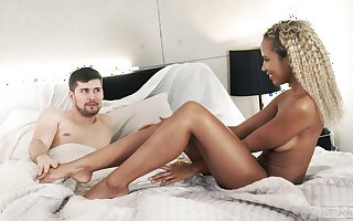 Ebony sweetheart likes the white cock jizzing her toes
