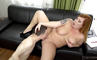 Chubby woman spreads legs for a young boy to fuck her