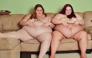 Putting On Pantyhose - 2 SSBBW Girlfriends Put On Hose Over Their Fat Bodie