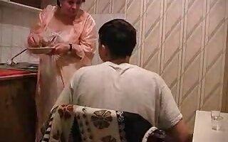 Co-ed having sex with a BBW grandma