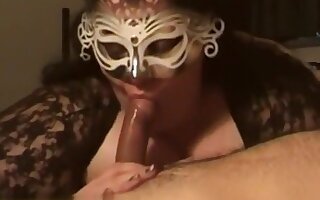 Pretty masked chubby brunette milf wife suck cock with lustful passion,damn!