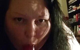 Amateur BBW deepthroats a dildo and gags