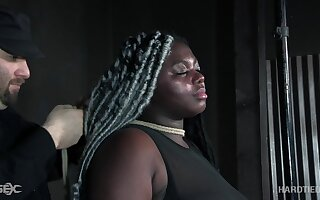Super chubby black woman Zoey Sterling gets her pussy punished in the BDSM room