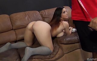 Curvy hottie with big naturals, intense couch sex with Dan