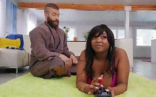 Fat ebony slut Barbie Crystal gets fucked by a large white Hawkshaw