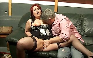 Redhead girl Kaicee Marie makes a dick disappear wide her pussy
