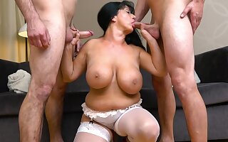BBW mature Booby M gets fucked and double penetrated by 2 guys
