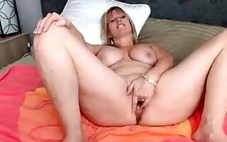 Dildo solo 49 years BBW housewife with broad in the beam bosom