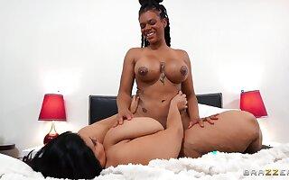 BBW enjoys butch XXX with ebony MILF